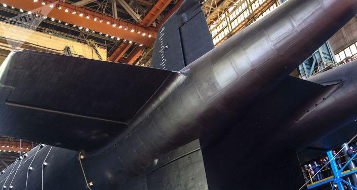 La cérémonie de mise à l'eau du sous-marin nucléaire Belgorod à Severodvinsk