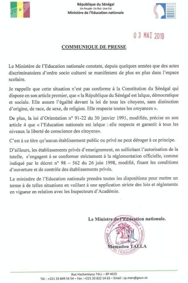Copie du communiqué du 3 mai 2019 du ministre sénégalais de l'Éducation nationale, Mamadou Talla, partagée sur des sites et réseaux sociaux sénégalais