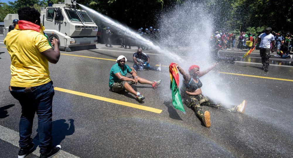 manifestants à Genève, le 29 juin 2019