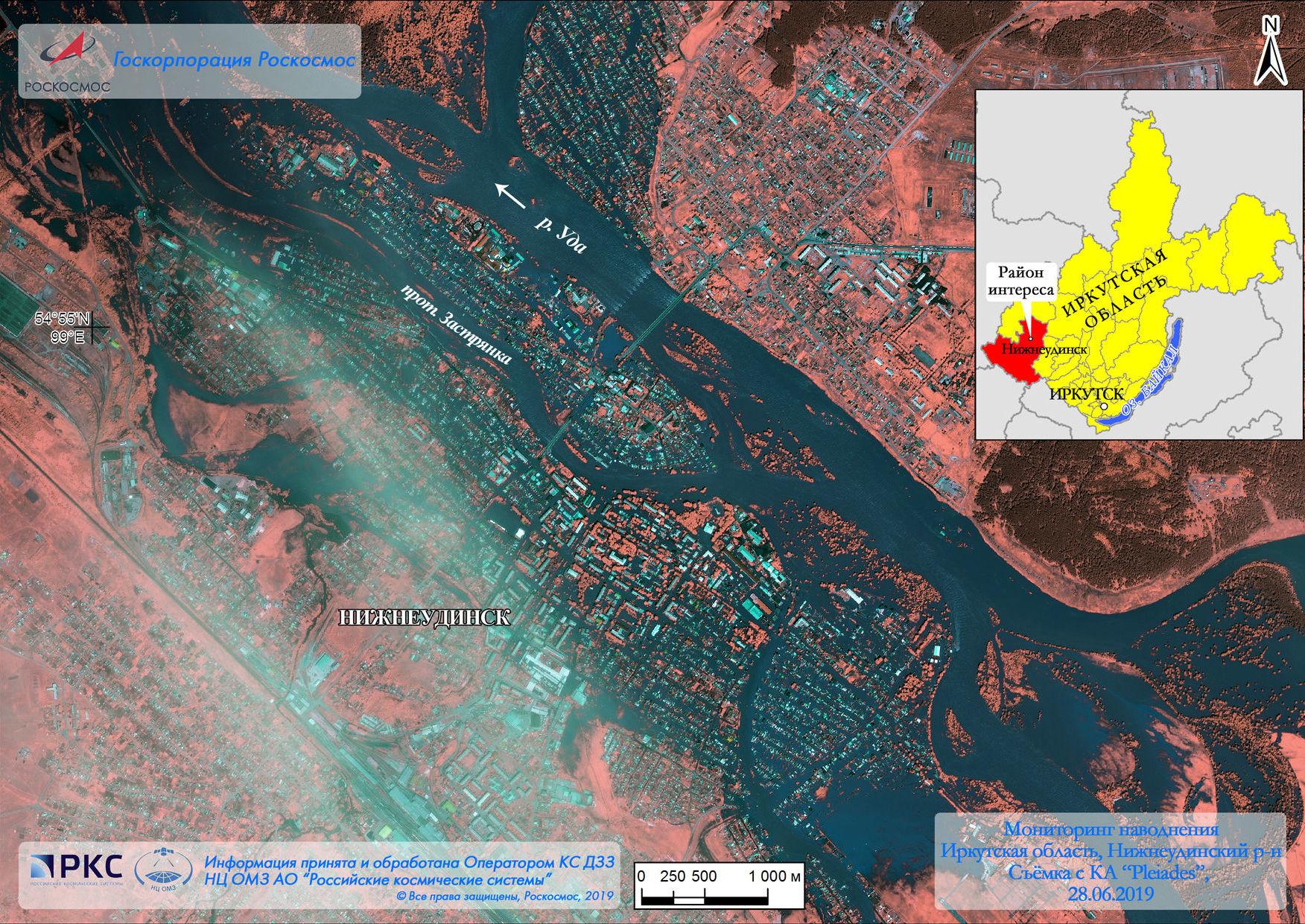 La zone inondée dans la région d'Irkoutsk vue depuis l'espace
