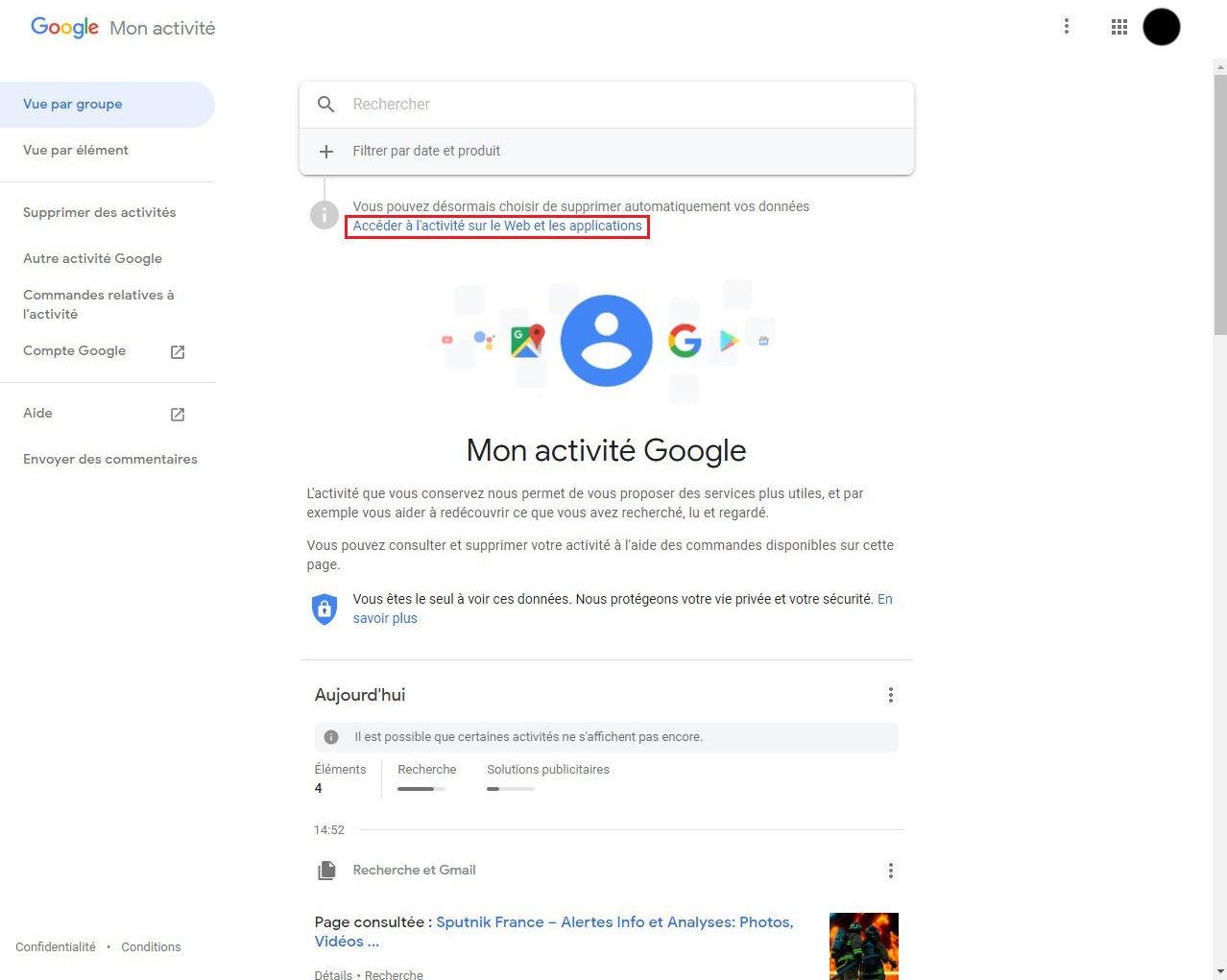 Comment supprimer l'historique de ses activités sur le Web sur Google