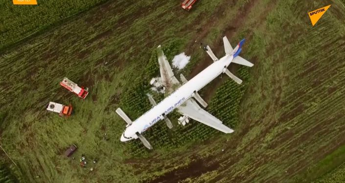 Le lieu où l'Airbus A321 a atterri dans la région de Moscou, filmé par un drone