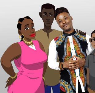 Claye Edou, entouré par les héros de son prochain film d'animation