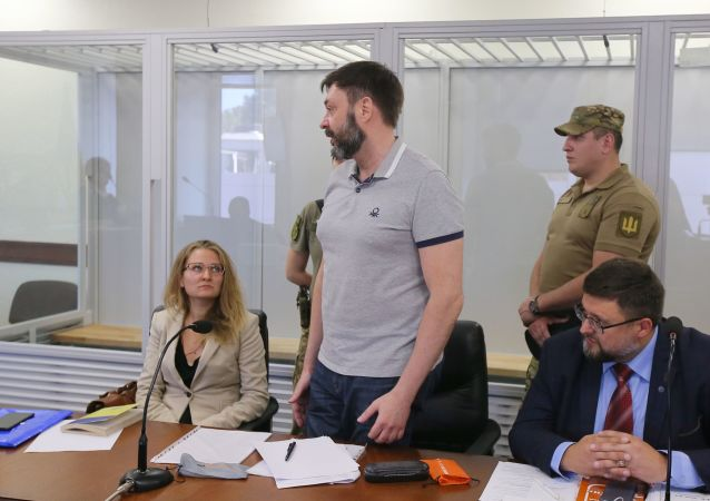 Le journaliste Kirill Vychinski lors d'une séance de la cour d'appel de Kiev