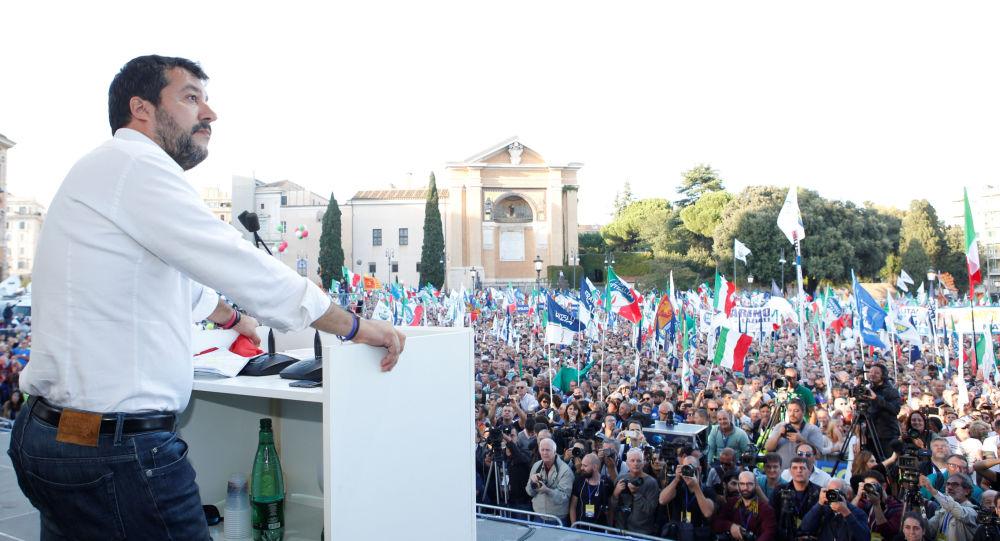 Rassemblement des partisans de la Ligue de Matteo Salvini à Rome