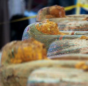 Sarcophages découverts sur la rive ouest du Nil, dans la nécropole d'El-Assasif, à Louxor