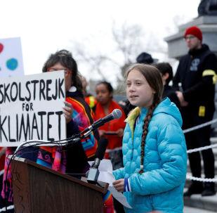 Greta Thunberg dans la ville canadienne d'Edmonton
