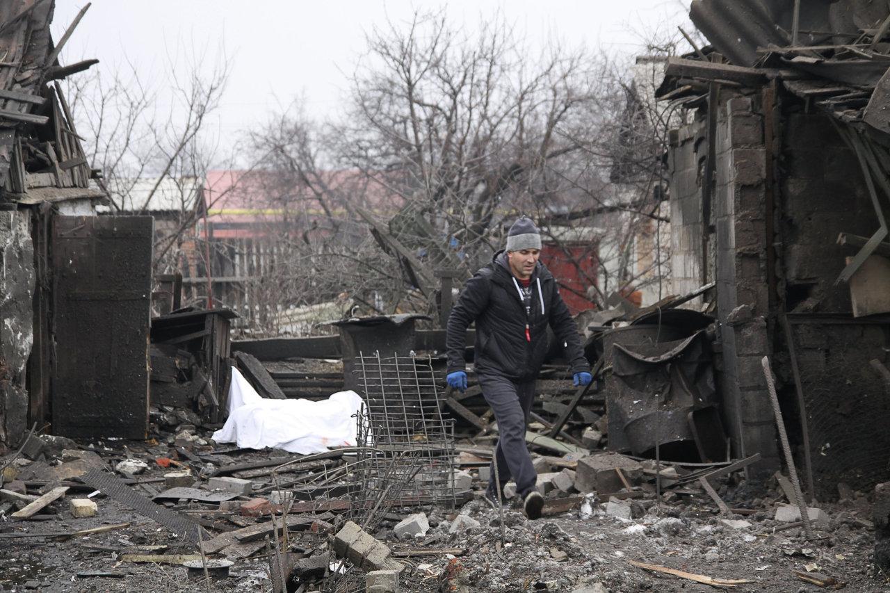 Donetsk après un bombardement