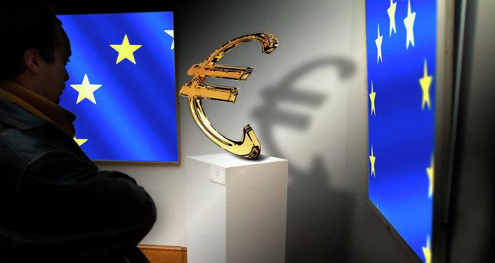 Les drapeaux de l'Union européenne et le signe de l'euro