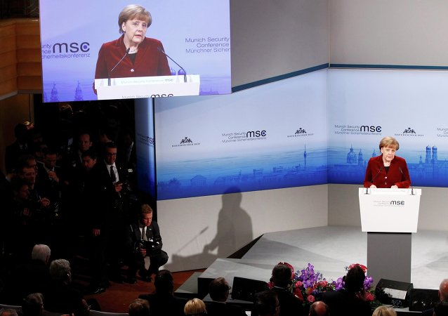 Сhancelière allemande Angela Merkel à la Conférence de Munich sur la sécurité