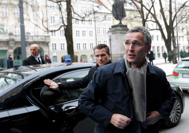 Le secrétaire général de l'Otan Jens Stoltenberg arrive à la Conférence de Munich sur la sécurité le 6 février 2015