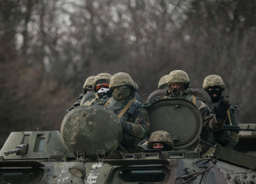 Des soldats de l'armée ukrainienne à Debaltsevo, le 8 février 2015