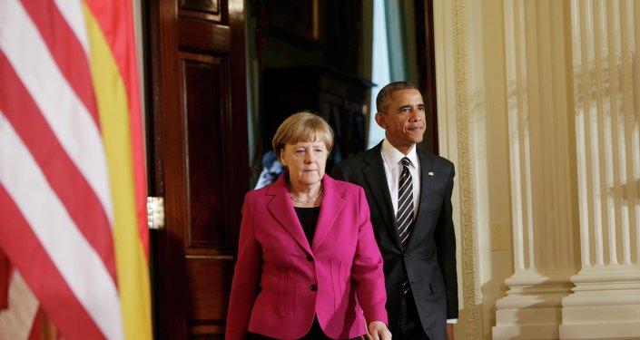 Le président américain Barack Obama et la chancelière allemande Angela Merkel