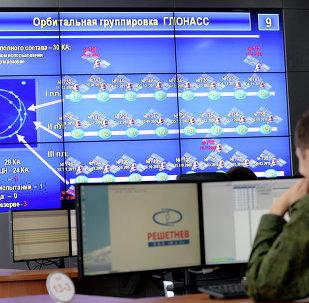Dans un point de contrôle du système de la navigation par satellite GLONASS
