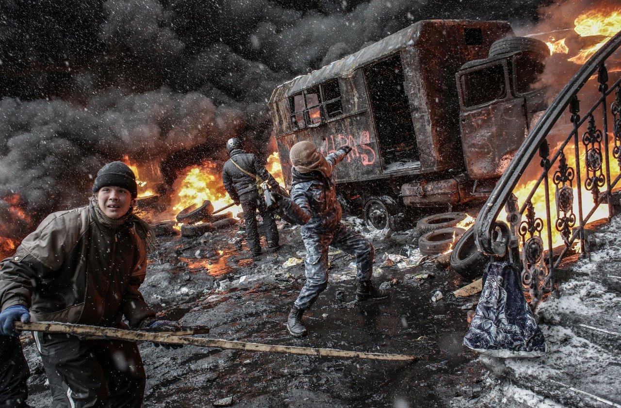 Les partisans de l'intégration européenne de l'Ukraine, rue Grouchevski à Kiev