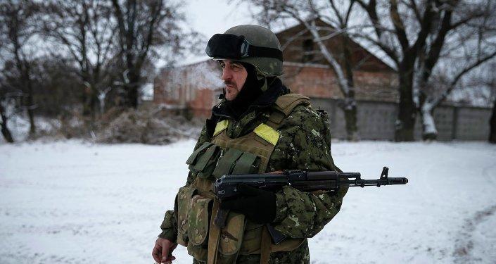Les militaires ukrainiens près de Debaltsevo