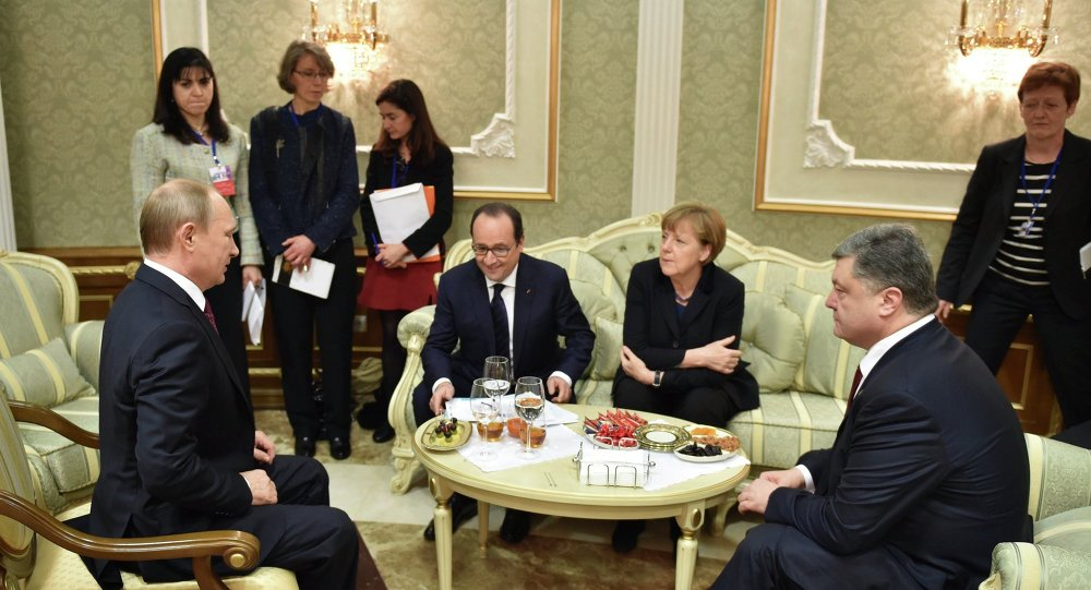 V.Poutine, F.Hollande, A.Merkel, P.Porochenko