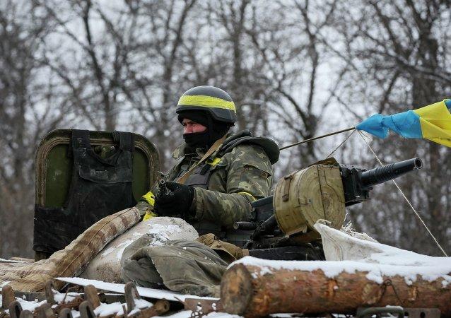 Un militaire ukrainien près de Debaltsevo