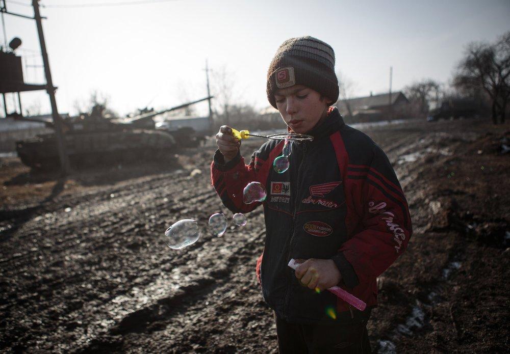 La ville d'Ouglegorsk de la région de Donetsk, le 14 février