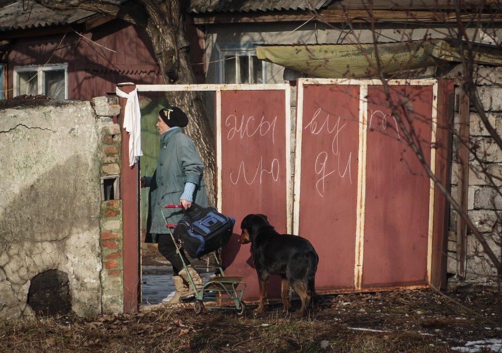 Une habitante de Gorlovka, le 14 février