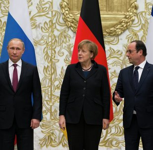 Rencontre de Vladimir Poutine, Angela Merkel, Francois Hollande et Piotr Poroshenko à Minsk