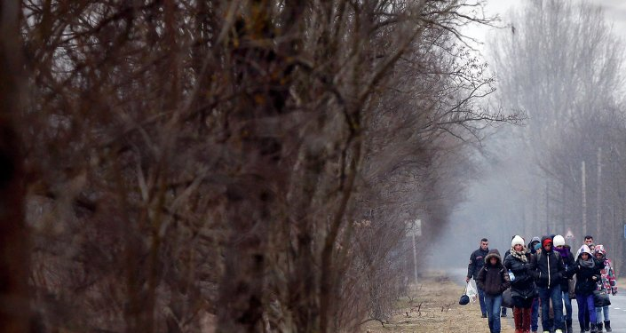 Des Kosovars près de la frontière serbo-hongroise