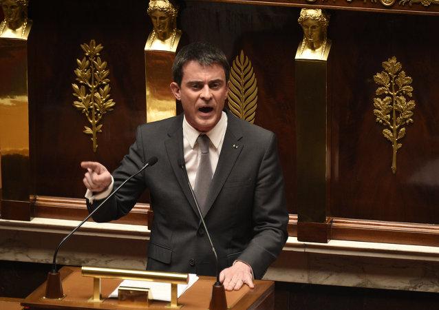 Le Premier-ministre français Manuel Valls à L'Assemblée nationale
