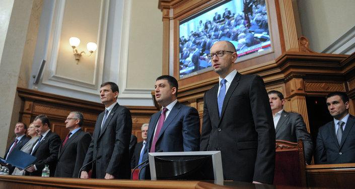 Министры в правительственной ложе на первом заседании новоизбранной Верховной рады Украины в Киеве