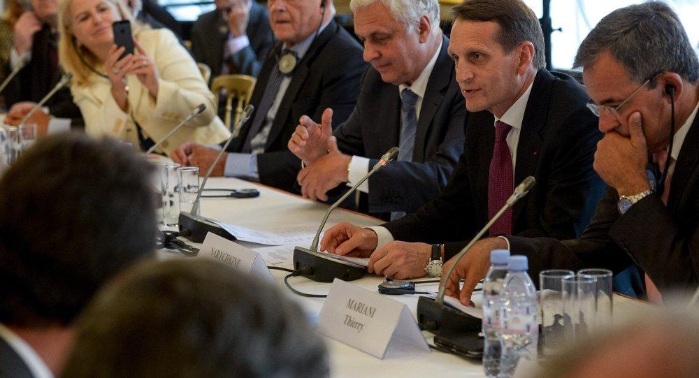 Sergueï Narychkine, président de la Douma, en visite à Paris