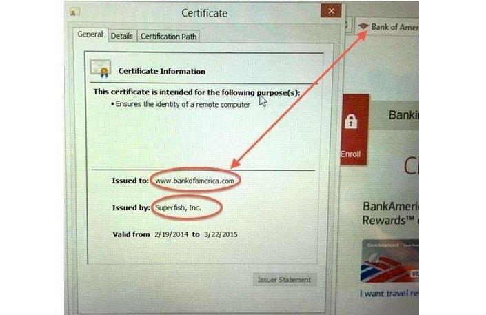 D'après une capture d'écran faite par un utilisateur, le logiciel a été crée d'après la commande de Bank of America