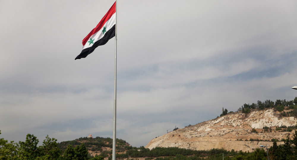 Drapeau syrien à Damas