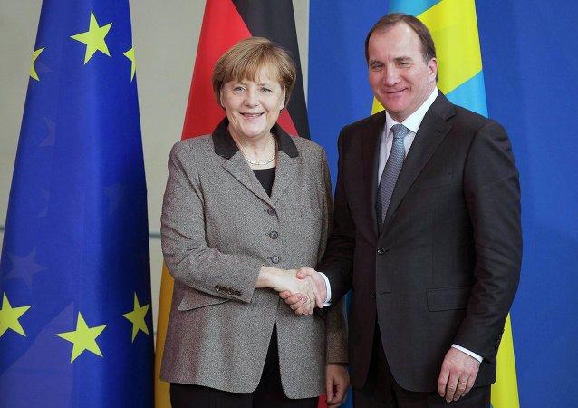 Conférence de presse conjointe de la chancelière allemande Angela Merkel et le premier ministre suédois Stefan Löfven