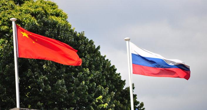 Drapeaux russe et chinois
