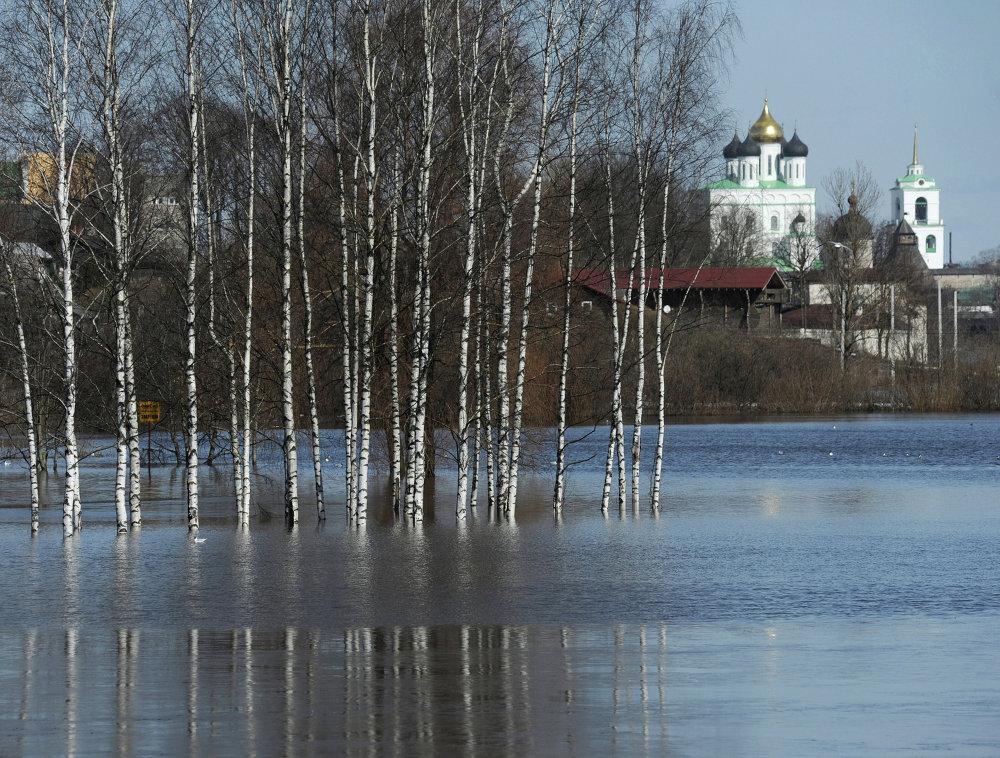 Rivière Velikaïa dans la région de Pskov (à l'arrière-plan, Kremlin de Pskov)