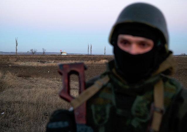 Un insurgé près de Zholobok le 21 février 2015