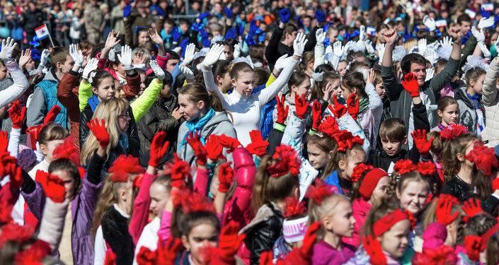 La célébration de l'anniversaire du Printemps de Crimée à Simféropol
