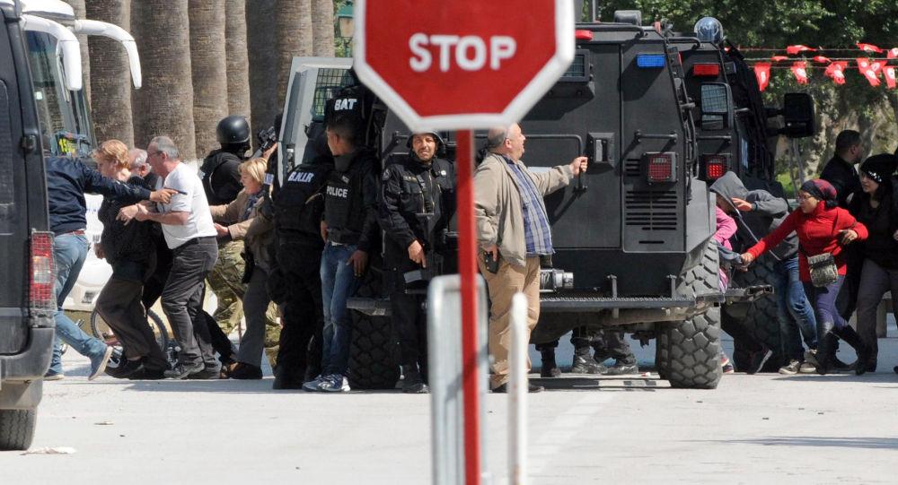 L'évacuation des touristes du lieu de l'attentat en Tunisie