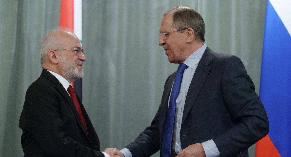 Ministre irakien des Affaires étrangères Ibrahim al-Jaafari et ministre russe des Affaires étrangères Sergueï Lavrov