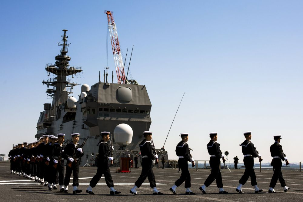 Cérémonie de mise en service du porte-hélicoptères Izumo dans le port de Yokohama