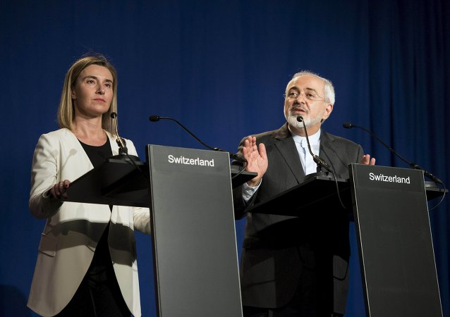 Federica Mogherini et Mohammad Jawad Zarif