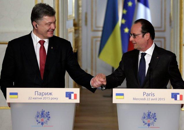 Francois Hollande et  Piotr Porochenko, Paris, Av. 22, 2015.
