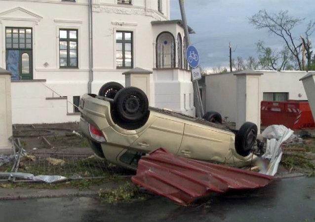 Une tempête ravage la ville allemande de Bützow