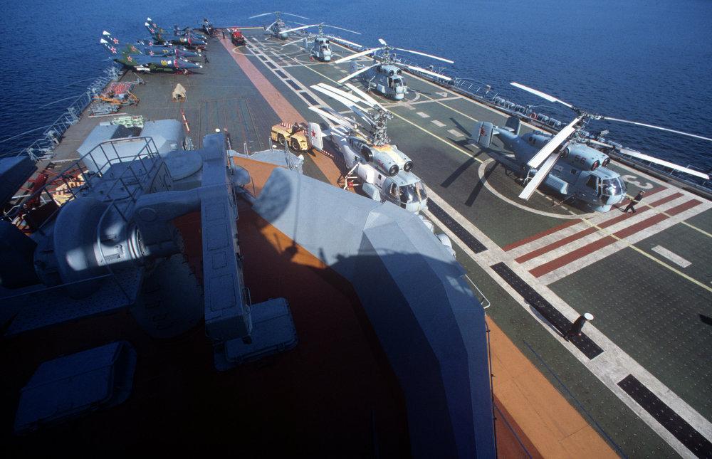 A bord du croiseur porte-aéronefs Novorossiïsk