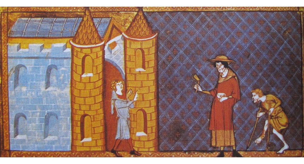Deux lépreux demandant l'aumône, d'après un manuscrit de Vincent de Beauvais (XIIIe siècle).