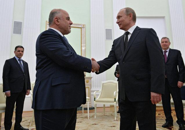 Le président russe Vladimir Poutine et le premier ministre irakien Haïdar al-Abadi