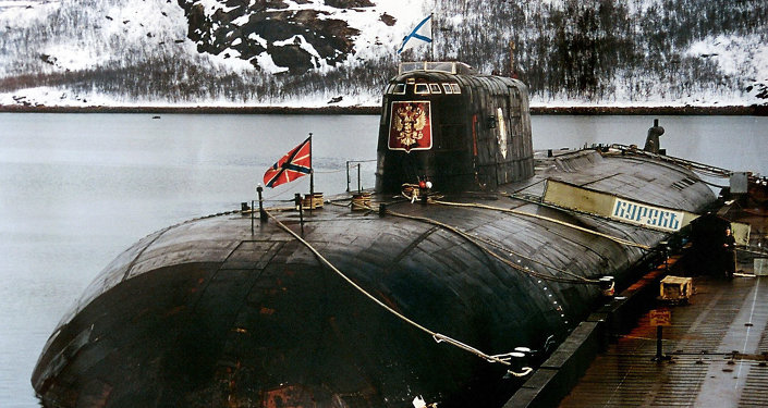 An undated file picture shows the 'Kursk' submarine in the base of Vidyayevo