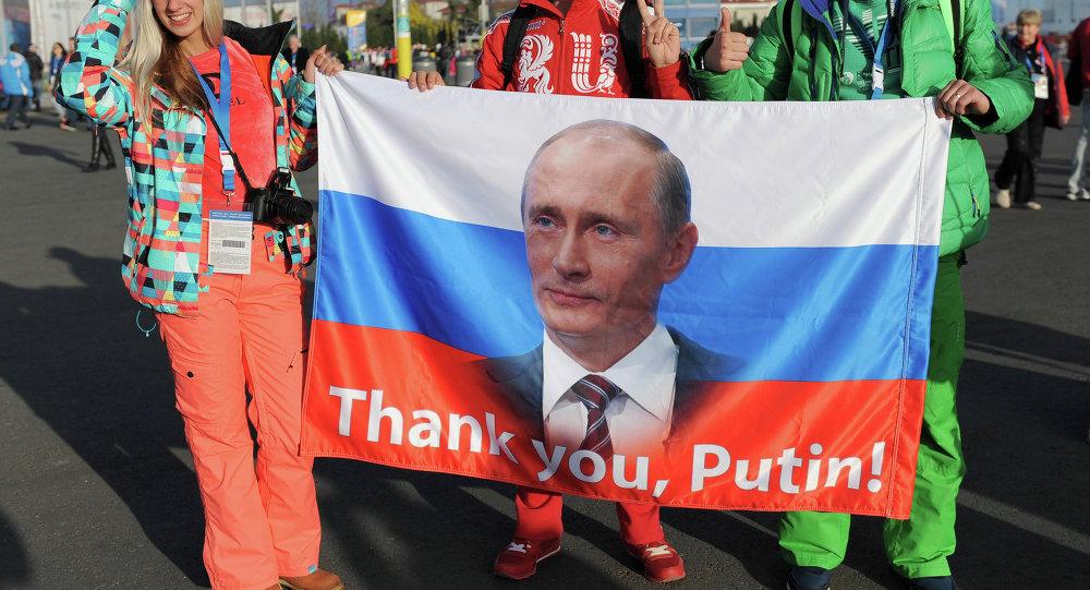 Des Russes soutenant le président Poutine