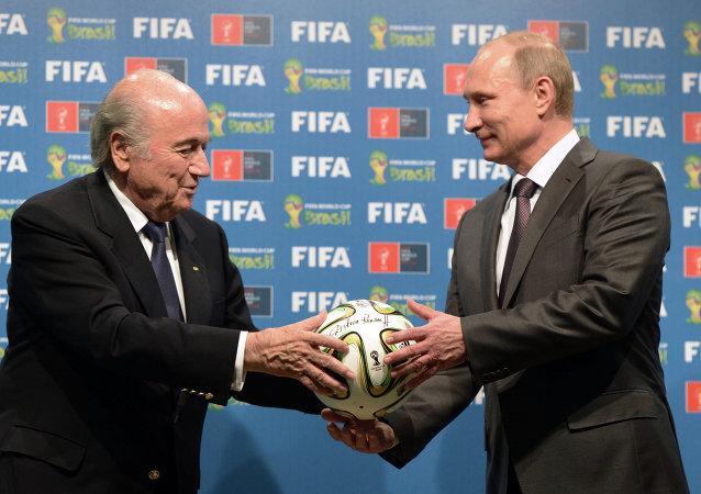 Joseph Blatter et Vladimir Poutine