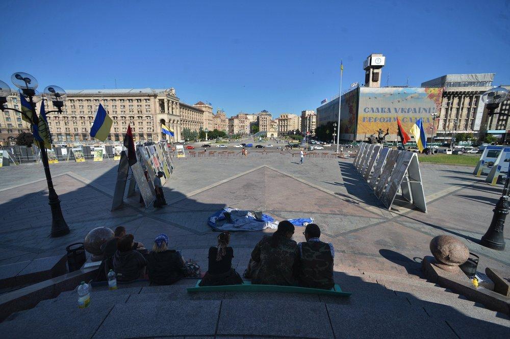 Des protestataires sur la place de l'Indépendance à Kiev