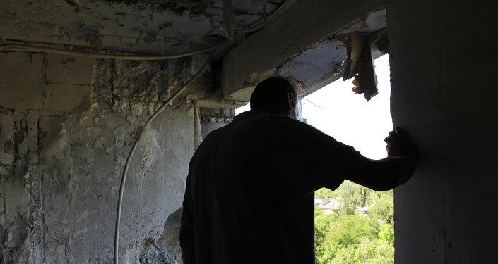 Maison endommagée par des tirs. Donetsk